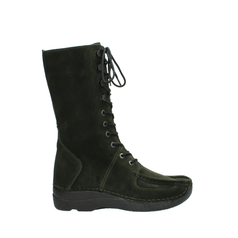 Wolky Halfhoge laarzen 06210 Roll Fashion - 40730 forest (groen) geolied suede
