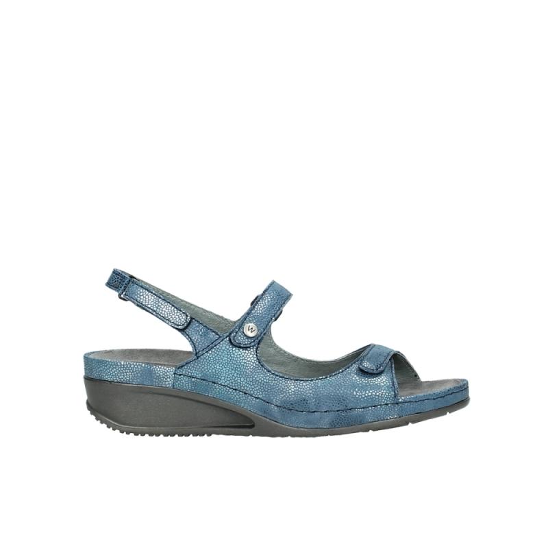 Wolky Sandalen 00425 Shallow - 60810 oceaan kaviaarprint leer